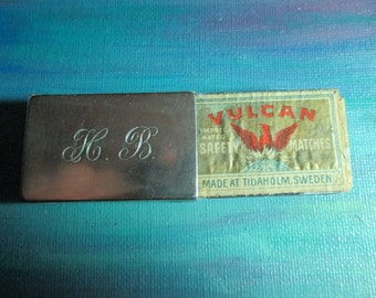 Vintage Sterling Silver Match Cover with Vulcan Box Matches