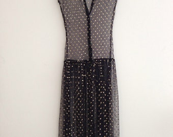 sheer black with gold polka dot soft mesh drop waist 1920s dress