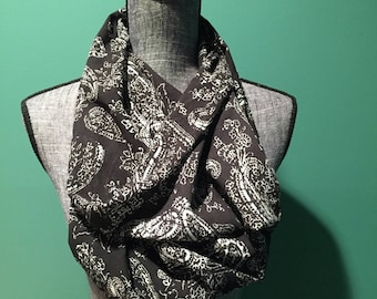 Black and White Paisley  Print Infinity Scarf