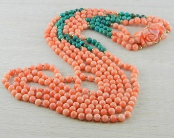 14k Italian Coral & Turquoise Necklace Antique AN-N36