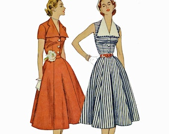 Vintage 50s Dress Pattern / 50s SUN DRESS Sewing Pattern Six Gore Flare Skirt Day Dress Pattern Simplicity 3847 Bust 30 1950s Sewing Pattern