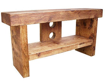 Slimline Rustic thick chunky solid wood Plasma LCD narrow TV stand