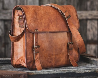 "Goat Leather Messenger Bag 14"" / Briefcase / Cross Body Bag / Handbag / Satchel / iPad / Hip Bag / Shoulder Bag"