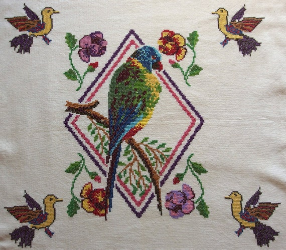 Vintage Embroidered Pillow cover Tablecloth Wall hanging Parrot  Birds Large Square Counted Cross stitch