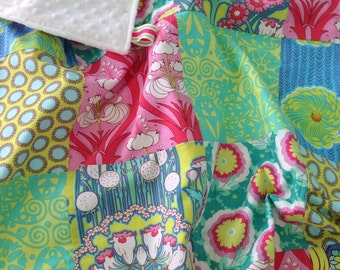 Baby Girl Patchwork Blanket ~ Cotton & Minky Patchwork Quilt ~ Crib Blanket ~ Photo Prop ~ Amy Butler ~ Soul Blossom ~ BoHo Chic Nursery