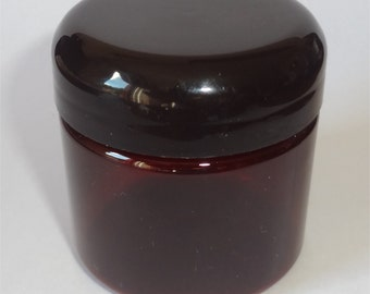 Lot of 12 2-oz Dark Amber Round Jars Straight Side with Black Caps