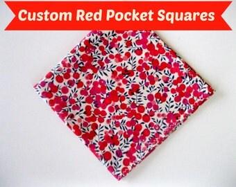 Red Pocket Square, Liberty of London Pocket square, pocket square, handkerchief, wedding hankie, hanky, liberty of london, groomsmen gift