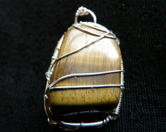 Gemstone pendant, brown stone pendant, tiger eye gemstone pendant, copper pendant, silver plated pendant, handmade crystal pendant,