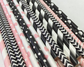 24 Barbie Party pink and black Striped polka dot chevron Paper Straws hearts
