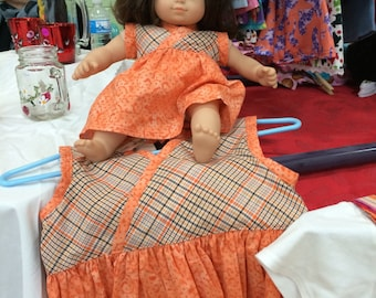 Thanksgiving Dress made to match for American Girl Bitty Baby Journey Girl