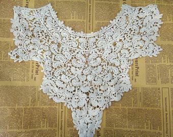 Vintage style Cotton Collar, Beige Lace Collar Applique, Beige Collar for DIY Lace Necklaces, Couture Design