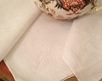 "Lovely Monogrammed Linen Napkin Extra Large Vintage 25"" Square"