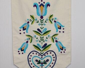 Vintage 1970's Large 17 x 67 Linen Hand Embroidered Folk Table Runner