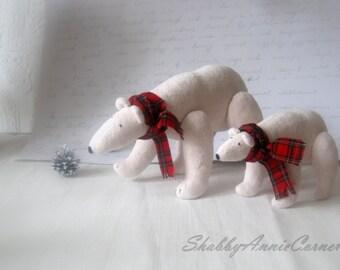 White bears, Polar bear, Christmas bears, Soft toys, Red White Christmas, Stuffed bear, White Christmas, Handmade Christmas, Kids toys