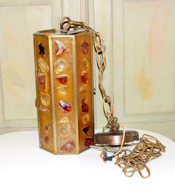 Mid Century Swag Lamp: Vintage Swag Light Vintage Chunky Lucite Hanging Lamp Mid