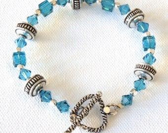 Blue Heart, Bracelet, Swarovski Crystals, Sterling Silver, Heart Toggle Closure, Gift for Her, Gift Idea, Teal, Feminine, Beaded Bracelet