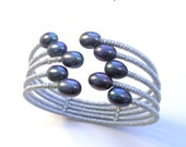 Japanese silver silk black pearl cuff bracelet