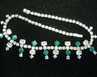 1950's Emerald Green and Clear Rhinestone Choker Necklace ROYAL of PITTSBURGH