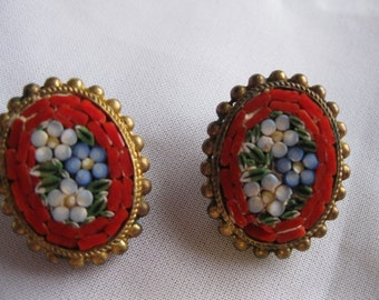 Vintage Italian Micro Mosaic Red Forget-Me-Not Clip Earrings