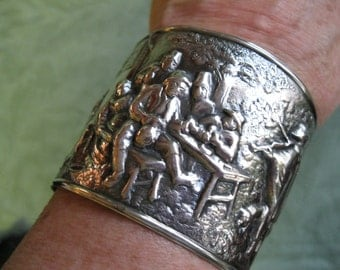 DENMARK Repousee Silver Plated Cuff Bracelet with Village Scene