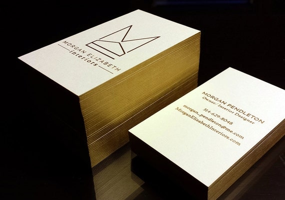 Letterpress business cards 100 2 foil colour edge like this item reheart Choice Image