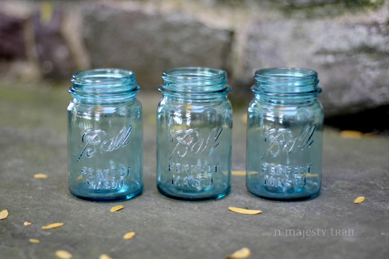 qty 3 blue pint size ball canning jars vintage numbered. Black Bedroom Furniture Sets. Home Design Ideas