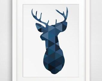 Blue Deer, Navy Art, Deer Head, Deer Art, Navy Prints, Deer Art, Navy Decor, Wall Prints, Blue Wall Art, Blue Decor, Deer Wall Art