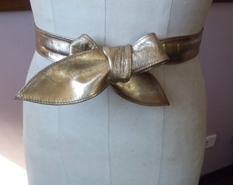 Vintage Gold lame metallic leather sash belt 129cm