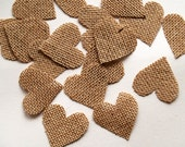 Set of 50 Burlap Heart Shapes- DIY Supplies for Rustic Wedding-1,8-inch hearts