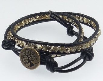 Tree of Life Bright Gold Wrap Bracelet, Leather Wrap Bracelet