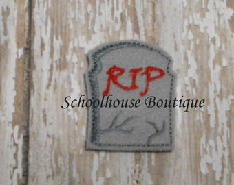 RIP Gravestone Tombstone felties, feltie, Thanksgiving, Halloween, Fall Harvest, Machine embroidered,felt applique,felt embellishment