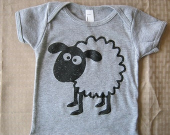 SHEEP print, American Apparel BABY Lap T-shirt or Onesie, 3-24 mos