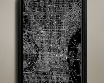 PHILADELPHIA Map Print, Black and White Philly Wall Art
