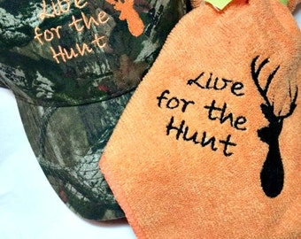 Camouflage or Solid Deer Hunting Hat with Hunting towel