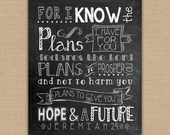 Scripture Art -For I know the Plans I have for you PRINTABLE Chalkboard sign. Jeremiah 29:11 Bible verse. Christian Wall Art. DIGITAL file.