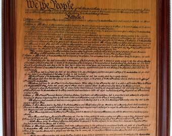 Constitution of the United States of America (orignal size, framed in solid cherry, hand made frames)