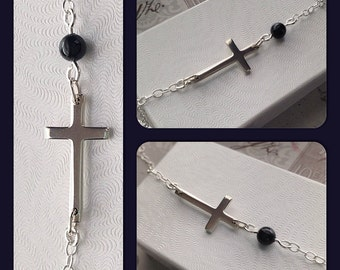 Sterling Silver Side Cross Necklace with Pearl - Sideways Cross Necklace - Horizontal Cross Necklace with Blue Pearl - Christening Gift