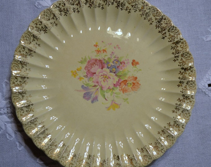 Vintage Imperial Ware Aristocrat  Plate Flowers Pink Peach Purple Gold Details panchosporch