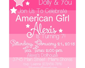America Girl Birthday Invite - DIGITAL