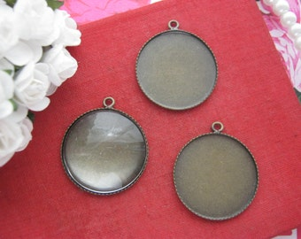 No.05736 x10 Retro vintage brass 20mm, 25mm circle glass tiles cabochons pendant trays, glass insert trays, cameo base settings