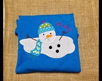 Melted Snowman Winter Applique Shirt