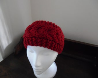 Chunky Hand Knit cable headband, earwarmer, in red