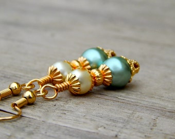 Sage Green Bridesmaid Jewelry, gold sage earrings, sage dangle earrings, green pearl earrings, under 10