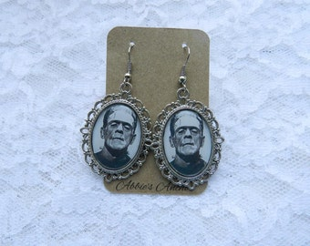 Frankenstein Cameo Earrings- Rockabilly Psychobilly Pin Up Horror Monsters Halloween Karloff