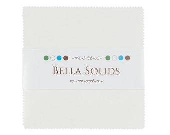 """White, Bella Solid Charm Pack, 42 - 5"""" squares, 9900PP 98"""