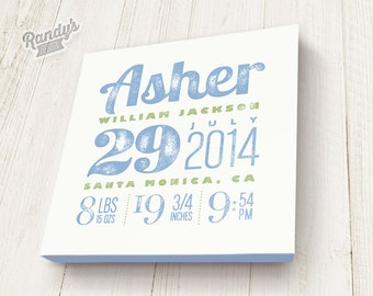 Personalized Birth Announcement, Custom Canvas Art with Baby Name, You pick colors and text