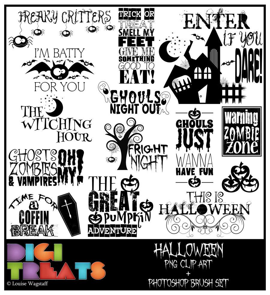 Halloween word art 50% OFF Spooky PNG Clip art by DigiTreats