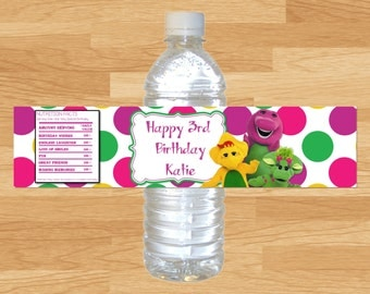 Barney Water Bottle Wrappers, Barney Water Bottle Labels, Barney Water Bottle, Barney and Friends, Barney Birthday Labels