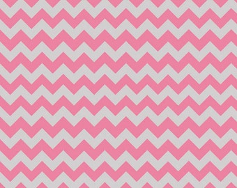One Yard Small Chevron - Tone on Tone in Hot Pink and Gray - Cotton Quilt Fabric - C400-10 - Riley Blake Designs (W2492)