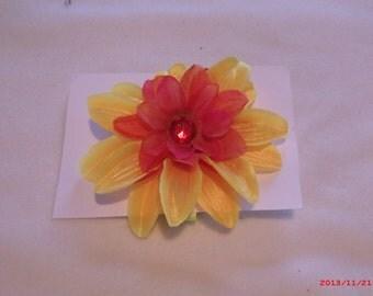 Large Yellow & Orange Flower Pin